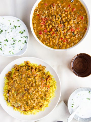 black-eyed pea yogurt curry with masala curry