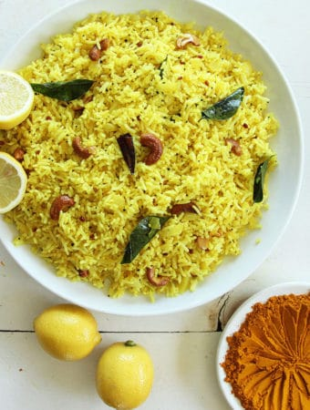 lemon rice turmeric cashews