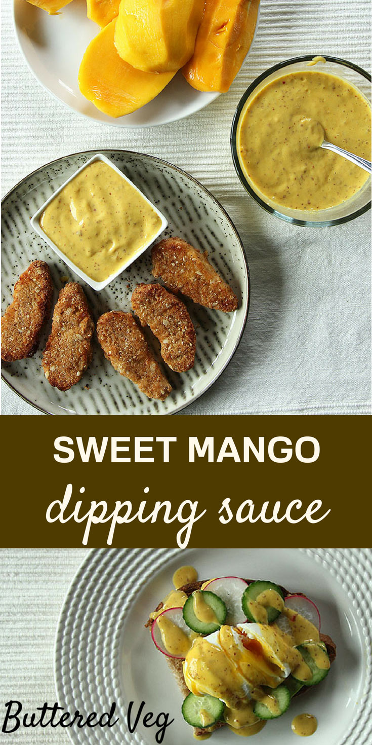 This mango mustard dipping sauce is naturally sweet, without any added sugar. It is so good, I predict you will want to dip everything you can think of. Good with VEGGIE chicken fingers, on a party platter, as a veggie dip, or spooned on top of poached eggs. #dip #dippingsauce #condiment #party #entertaining #mango #chicken