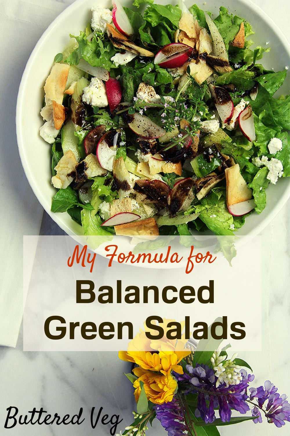 Andrea's Balanced Green Salad Secrets. Whenever I make a salad, my first principle is balance. How will I create a balance of colors, of textures, and of flavors? This balanced green salad recipe formula reveals all my secrets. #salad #balanced #vegetarian #realfood #plantbased #wholefood #healthy