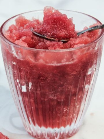 Watermelon Granita in a glass cup