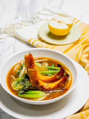 Shiitake Mushroom Miso Broth with Udon and Ginger Squash