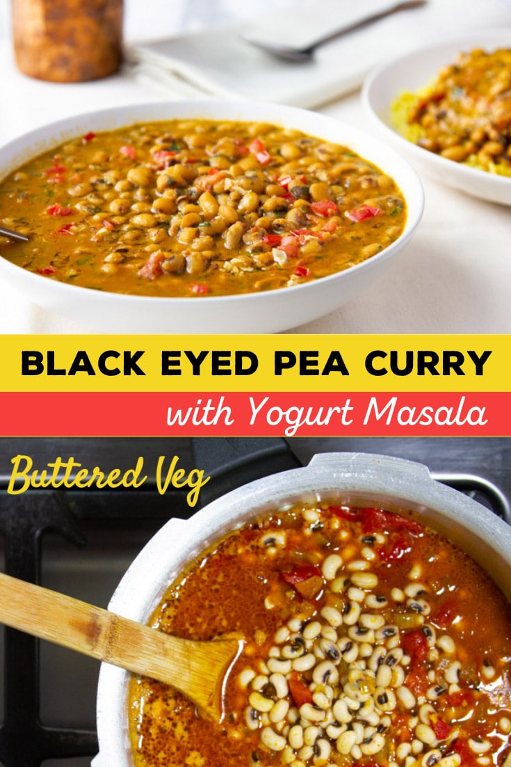 This Punjabi-style black-eyed peas curry is a flavorful stew made with onion, garlic, ginger, spices, tomato, in a rich & creamy yogurt gravy. #curry #beans #vegetarian #butteredveg