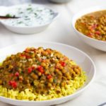 black-eyed pea curry with yogurt masala