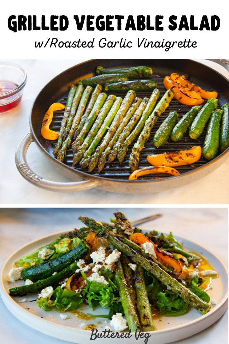 Grilled Vegetable Salad With Roasted Garlic Vinaigrette & Feta