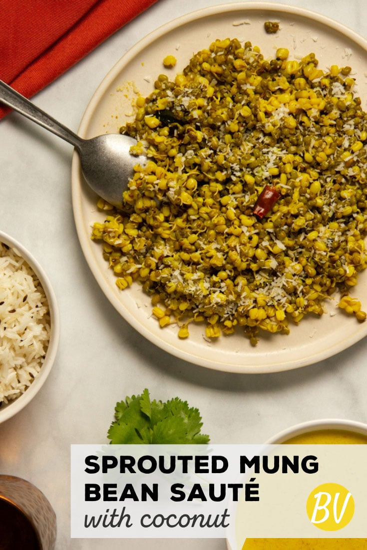 This sprouted mung bean sauté is a pleasantly spiced side dish (or main course if you are vegetarian) filled with plenty of protein and healthy nutrients. #healthy #vegetarian #sidedish