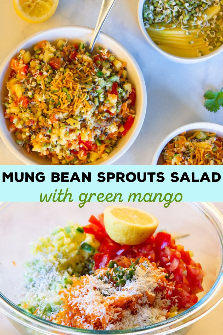 Mung bean sprouts salad is nourishing, light, bright, exciting—kind of like salsa—and perfect as a snack or side dish in spring and summer. #mungbean #salad #greenmango