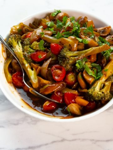 Asian veg stir-fry with ponzu sauce