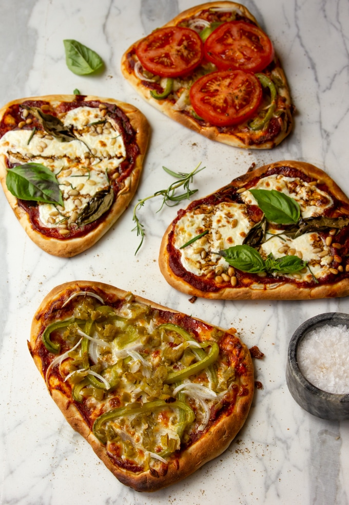naan pizzas Italian style and pepper lovers