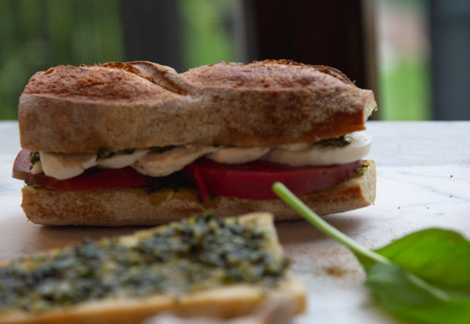 a profile of the caprese sandwich