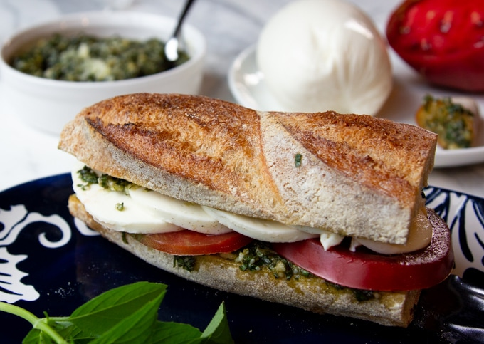 The bread for caprese sandwich