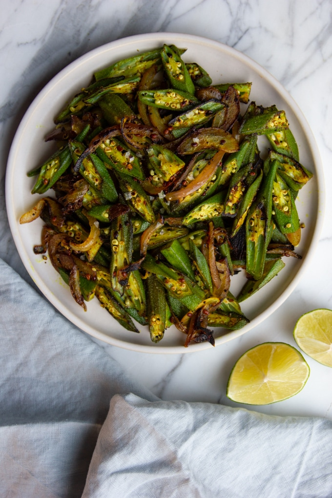 Indian okra saute with red onion