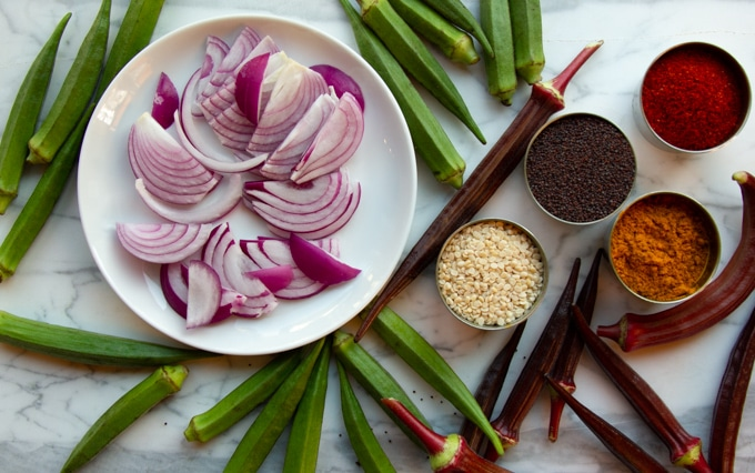 The ingredients for Indian okra saute
