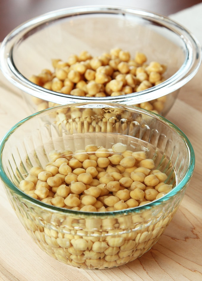 Soaked chickpeas bean soaking