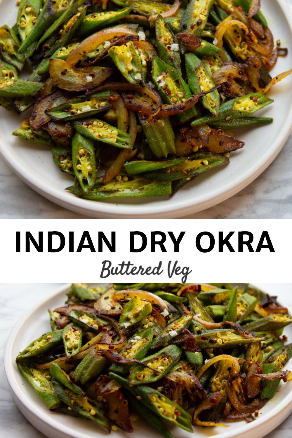 A dry Indian okra side dish recipe seasoned with turmeric and red chilis, plus three tricks for eliminating okra slime, how to buy okra, and tips for cooking okra. #okra #indian #indianrecipe #sidedish #dinnerside #butteredveg