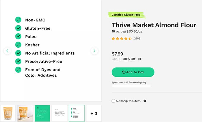 Thrive Market product listing