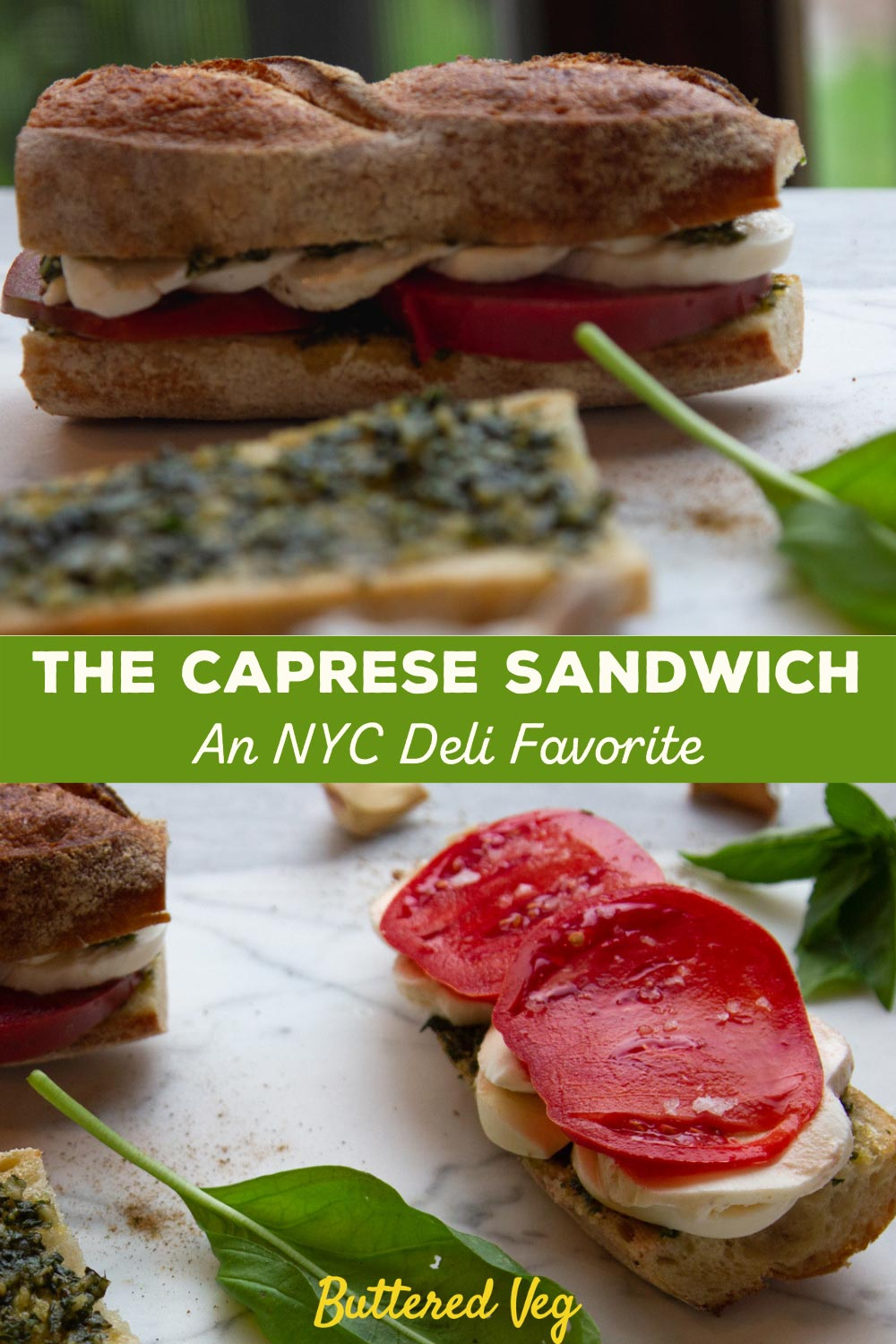 Vegetarians everywhere can always count on the satisfying caprese sandwich for lunch or brunch; made with creamy fresh mozzarella, tomato, olive oil, and basil. #sandwich #italian #lunch #butteredveg