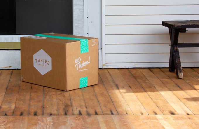 Thrive Market box at the doorstep