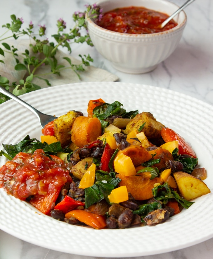 Vegetable Hash Skillet Dinner on a plate