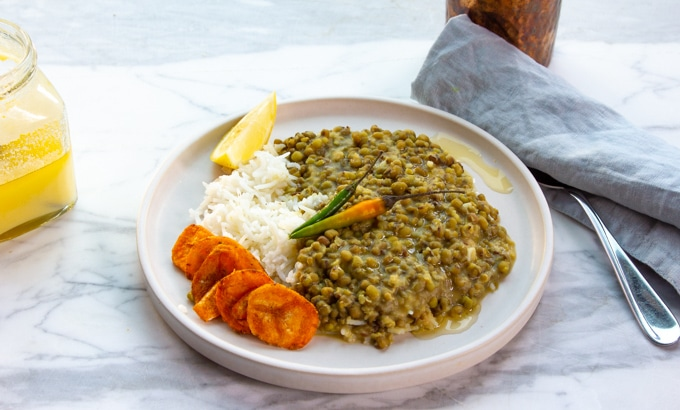 Whole mung dal on a plate