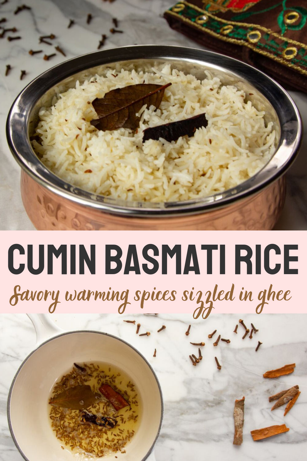 Cumin rice is a delicately spiced basmati rice—fragrant with impossibly long grains—and the perfect compliment for Indian food like dal and curries. #rice #basmati #indianfood #indianrecipe #dinnerside #cumin #spices #butteredveg