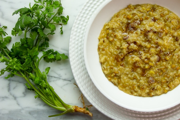 khichdi in a bowl with cilantro