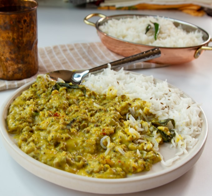 mung bean dal with buttermilk curry