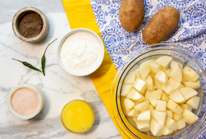 ingredients for mashed potato with ghee