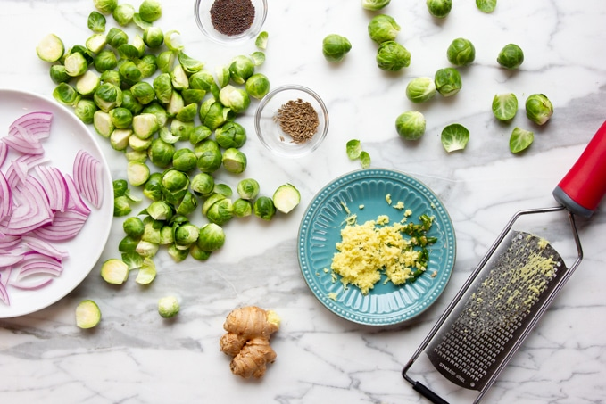 ingredients for Indian spiced brussel sprouts