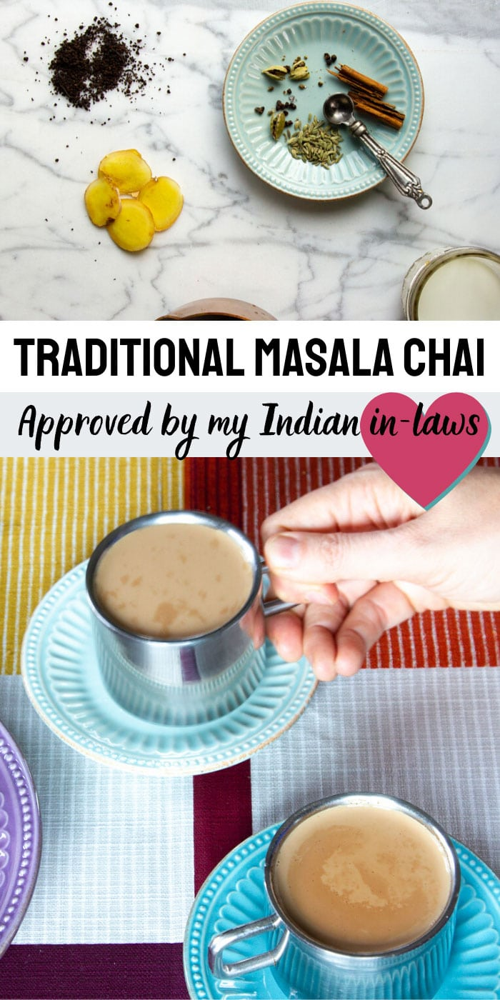A traditional masala chai recipe loaded with Indian healing spices of cardamom, peppercorns and cloves. Recipe approved my the Indian side of my family :) #masala #chai #indianfood #indianrecipe #tea #butteredveg