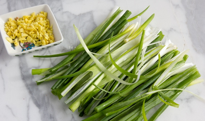 green onion and ginger for potstickers