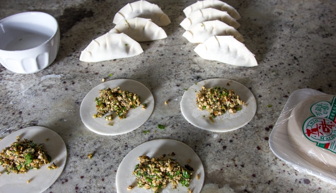 potsticker wrappers and making vegetarian potstickers