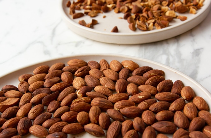 Toasted almonds for winter salad