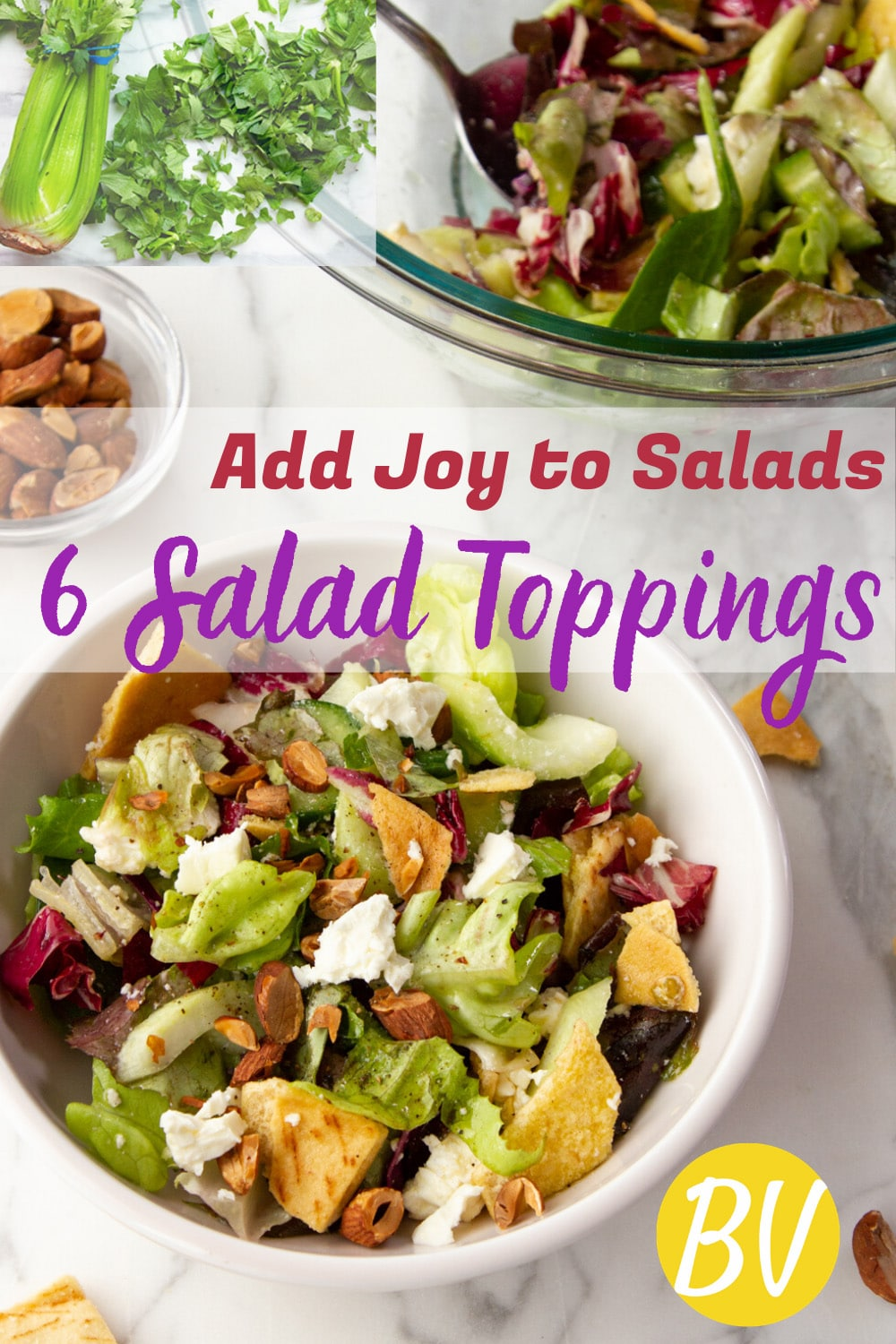 Six ideas for salad toppings that will add excitement, enjoyment, crunch, and flavor to winter salads, so you\'ll want to eat more healthy salads. #salad #toppings #dressings #vinaigrette #healthyfats #vegetables #butteredveg