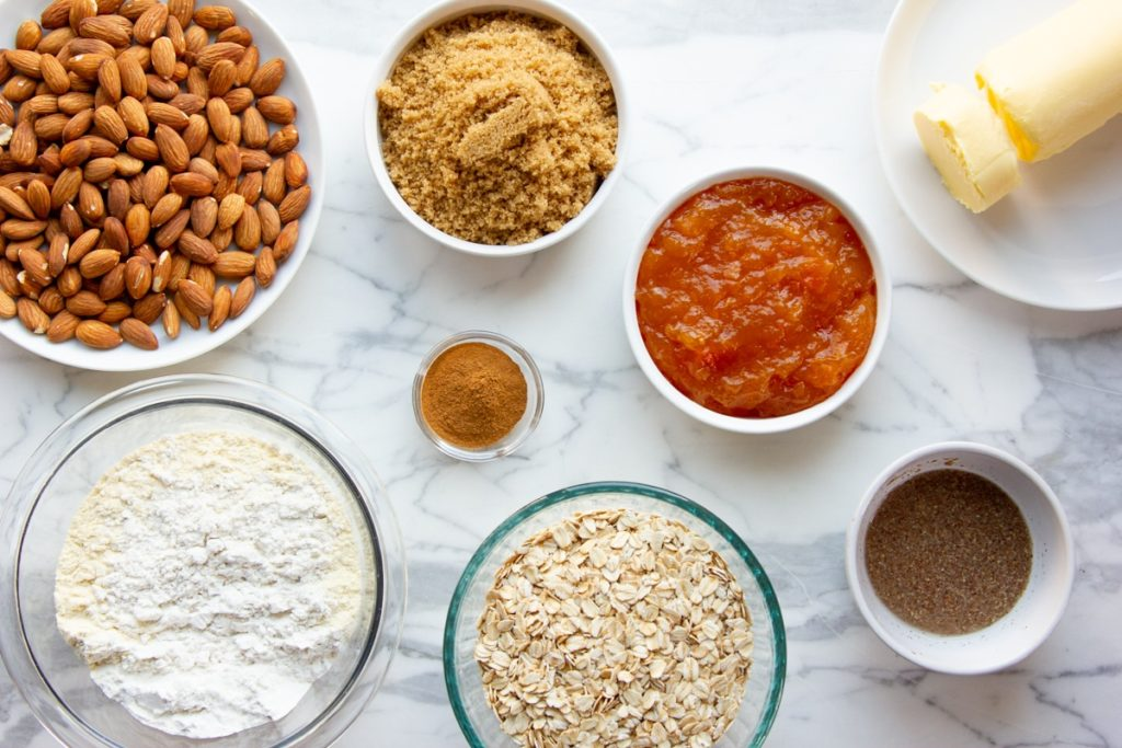 ingredients for apricot oat bars