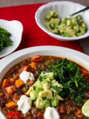 vegetarian chili with sweet potatoes