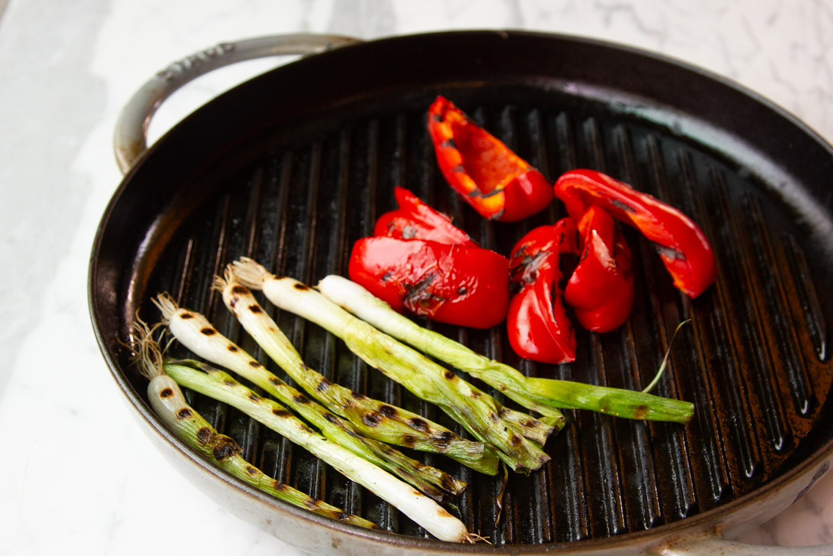 Grilled red pepper and green onion
