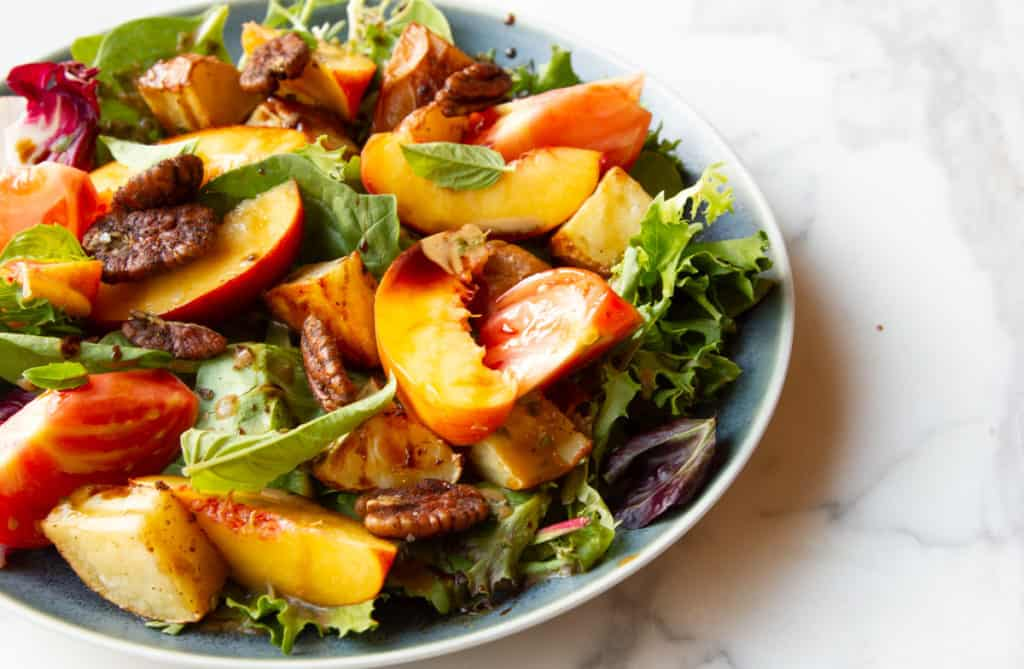 Peach salad with maple-balsamic vinaigrette