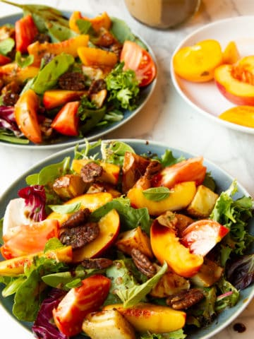 peach salad with maple-mustard vinaigrette