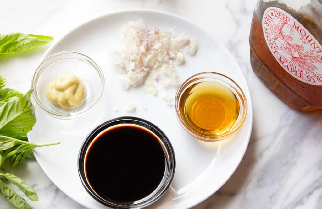 ingredients for maple-balsamic vinaigrette